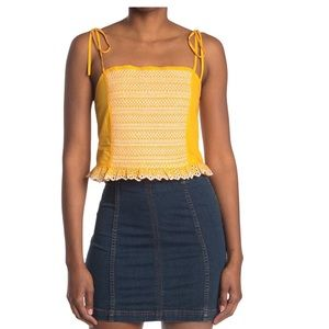 Tanya Taylor Randy Tie Strap Embroidered Tank L